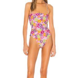 LPA Dixie One Piece 80s Floral Bathing Suit Large